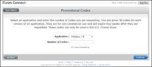 App Selection for Promo Codes (click to enlarge)